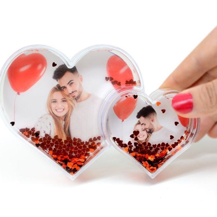 Sevgiliye Fotoğraflı İkili Kalp Kar Küresi