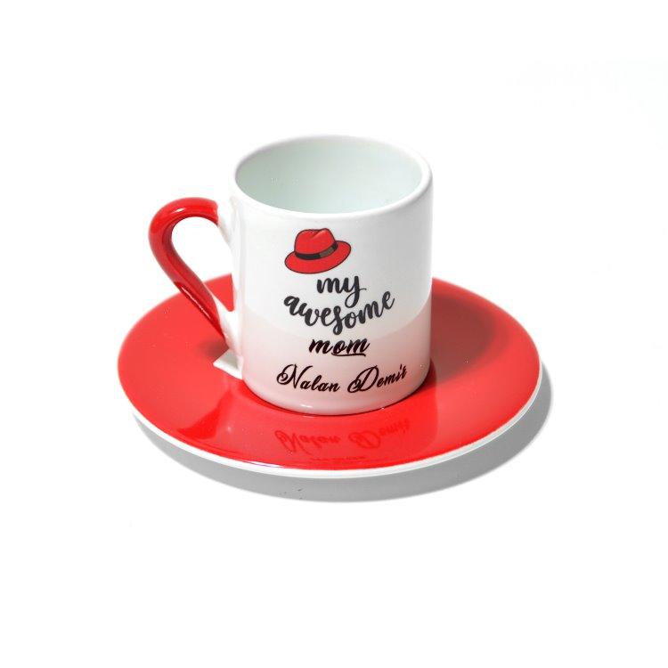 Kişiye Özel İsimli Kırmızı Kahve Fincanı Ve Tabağı