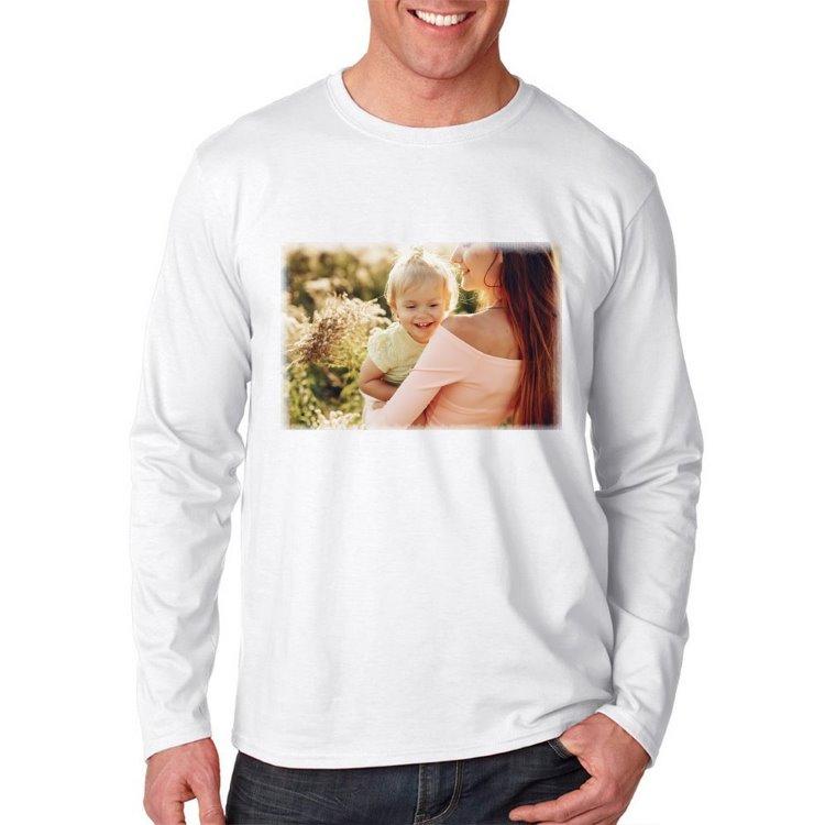 Kişiye Özel Fotoğraf Baskılı Unisex Uzun Kollu Beyaz Tişört
