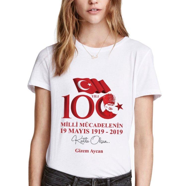 100. Yıl 19 Mayıs Gençlik ve Spor Bayramı Bayan Tişört