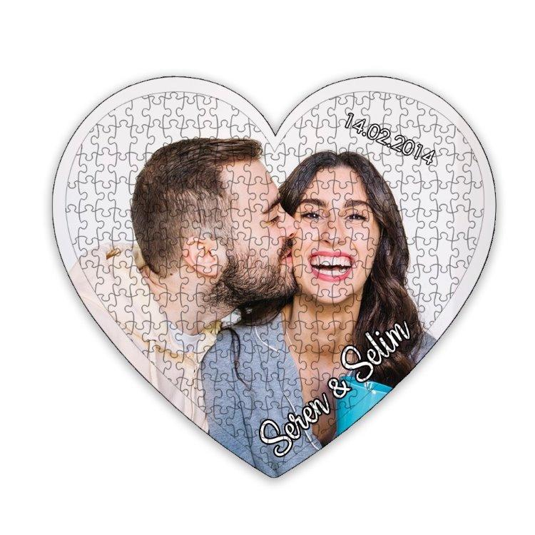 14 Şubat Sevgili Hediyesi Kişiye Özel Fotoğraflı Kalp Puzzle