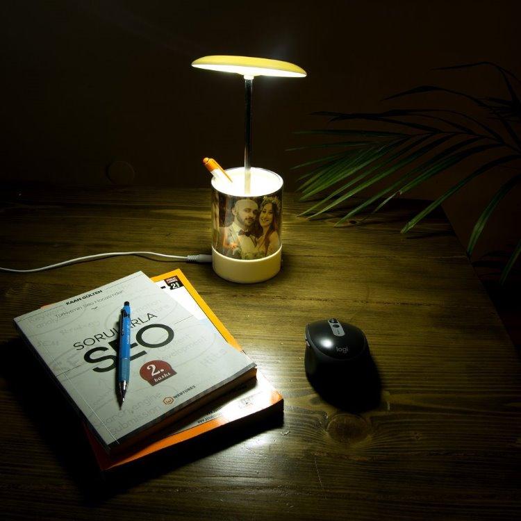 Mantar Tasarım Çalışma Lambası Özellikli Fotoğraflı Kalemlik