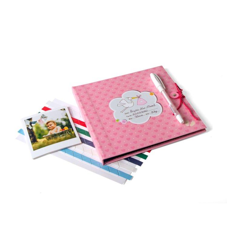 Kız Bebek Anı Kitabı Jel Kalem + 20 Pola Kart Hediye