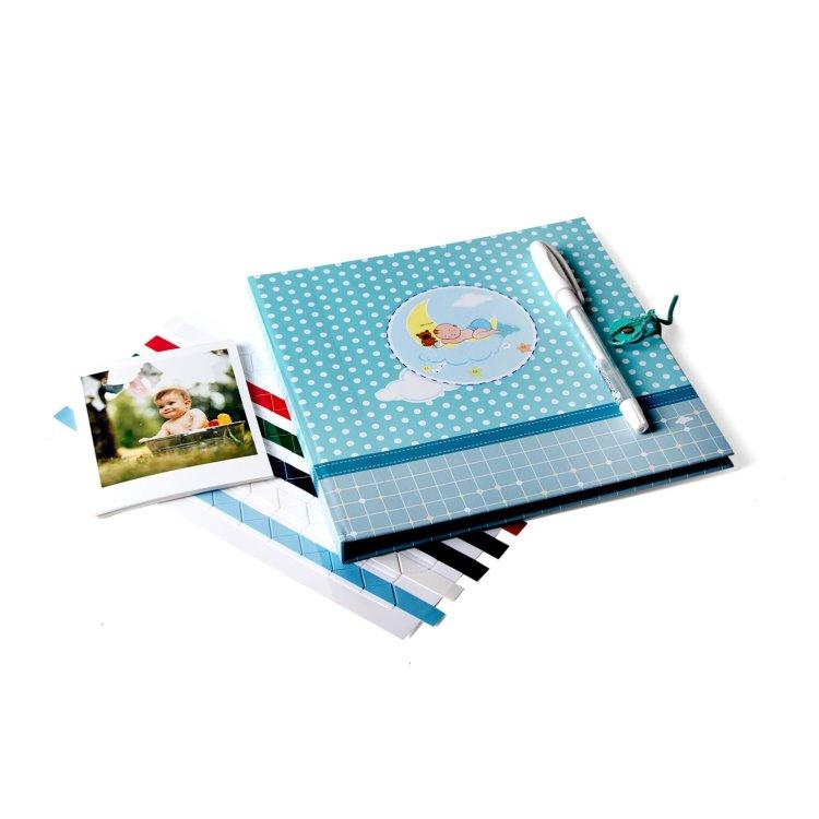 Erkek Bebek Uykucu Anı Kitabı Jel Kalem + 24 Pola Kart Hedye
