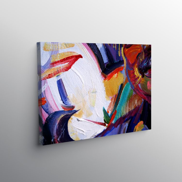 Renkli Yağlı Boya Görünümlü Çoklu Renkli Soyut Kanvas Tablo