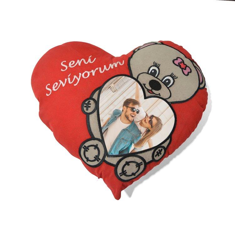 Seni Seviyorum Gri Ayıcıklı Kırmızı Kalp Sevgili Yastık