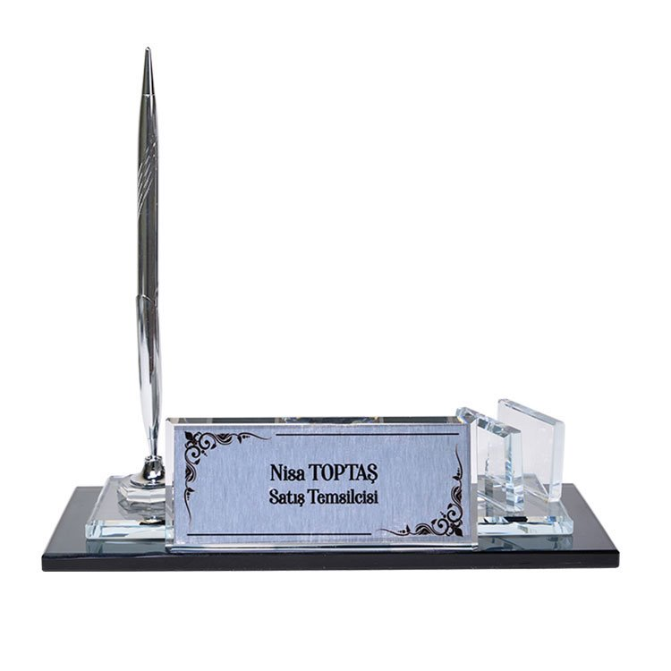 Saatli Kalemli Cam Masa İsimliği - Gümüş