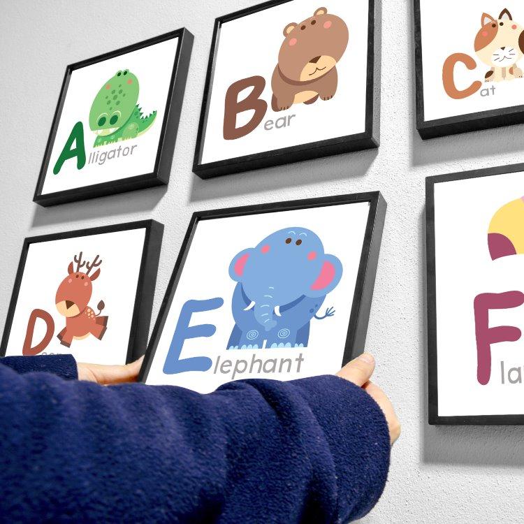 İngilizce Hayvanlı Alfabe  Çocuk Hediyesi Eğitici Kare Çerçeve Seti