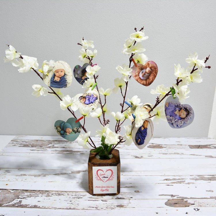 Kişiye Özel Anneye Hediye Fotoğraflı İsimli Dilek Ağacı
