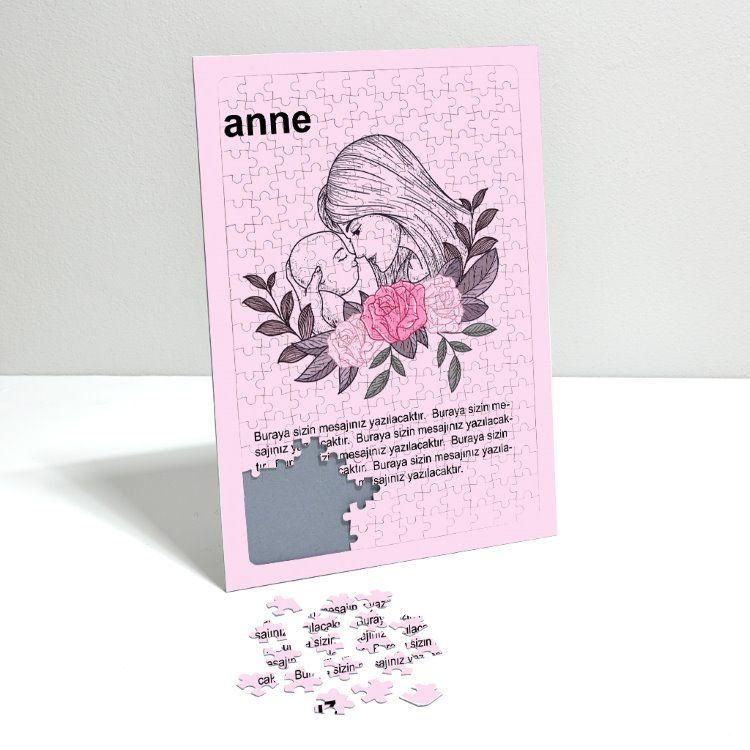Anneye Hediye Mesajlı A3 Puzzle