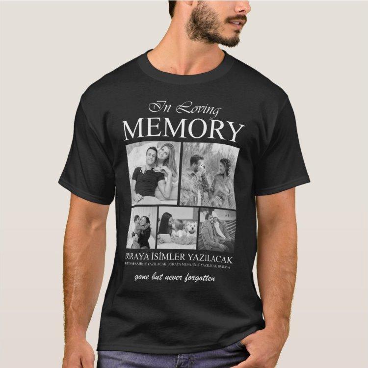 Kişiye Özel 5 Fotoğraflı Unisex Erkek Bayan Çocuk Loving Memory Tişört