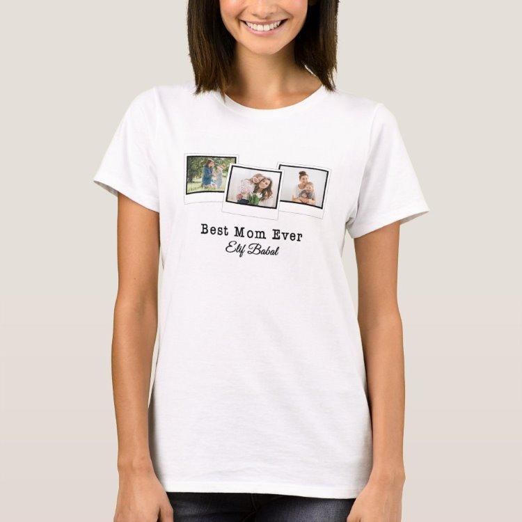 Kişiye Özel 3 Fotoğraflı En İyi Anne Beyaz Tişört